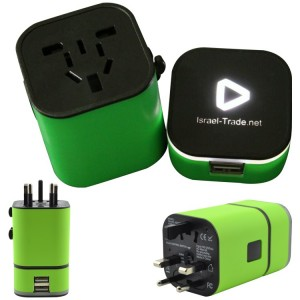 International Universal Travel Adapter w/Light Up Logo
