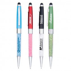 Gemstone Twist-Open Executive Ballpoint Pen w/Stylus in Different Colors & Designs