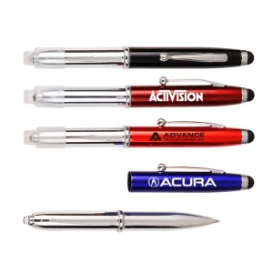 "3-in-1 Stylus/Ballpoint Pen & LED Flashlight (4 7/16""x5/8""x7/16"")"