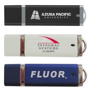 Rectangle Plastic USB Drive w/ Silver Trim