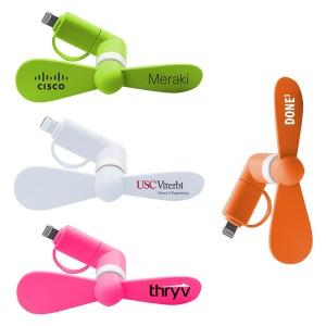 Portable mini fans for cell phone, power bank, tablet and more