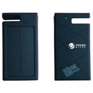 Eco-Friendly 8000mAh Solar Power Bank w/LED Flashlight and Smartphone Stand, Water Splash Proofed