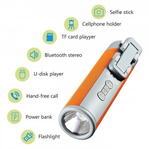 Premium Bluetooth Speaker Extendable Handheld Selfie Stick 5200mAh Power Bank with Flashlight