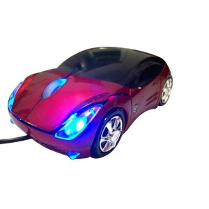 Sporty Car Optical Mouse w/ Headlights & Black Trim Wired