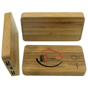 5000mAh Wooden or Bamboo Power Bank w/2 USB Ports.