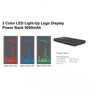 3 Color Light-Up Logo Display Power Bank 5000mAh