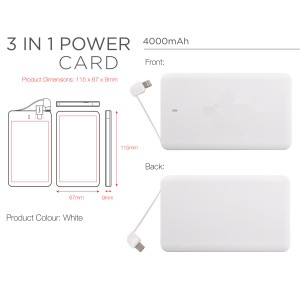 SlenderCharger 4000mAh Credit Card Size Charger Built In Charging Cable Type C, Android and Lighting Connector