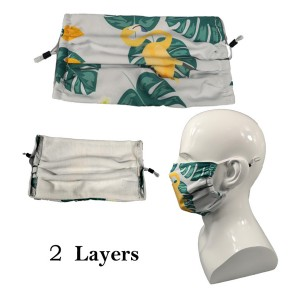 Lightweight, Pleated and Expandable 2 Layer Cotton Mask Full Color Dye-Sublimation Printing