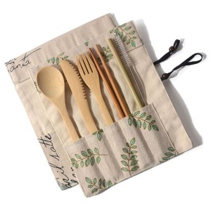 6pcs Eco-Friendly Bamboo Cutlery Set with Pouch