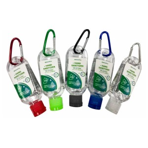 54ML 1.8OZ Antibacterial Hand Sanitizer Gel With Matching Color Carabineer and Cap Custom Label Optional