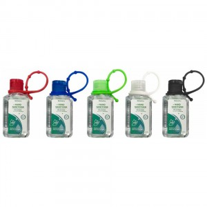 60ML 2OZ Antibacterial Hand Sanitizer Gel 75% Alcohol Colorful Silicon Loop and Matching Cap Custom Label Optional
