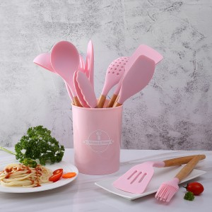13pcs Silicone Cooking Utensils Set with Wooden Handles