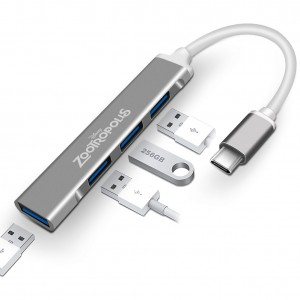 Ultra Slim Type C USB 3.0 Hub 4 Ports Works with MacBook, Phone and More