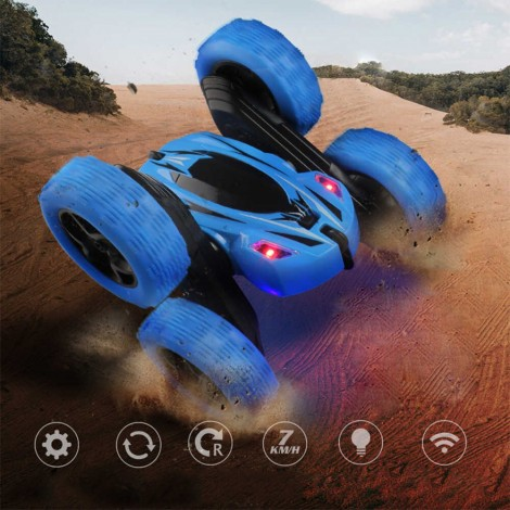4WD RC Stunt Car 360°Flips Double Sided Rotating with Headlights