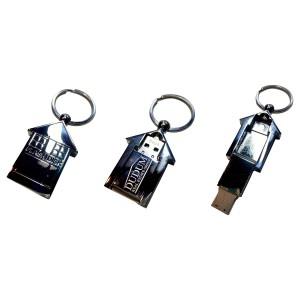 Metal House Shaped USB Drive Swivel