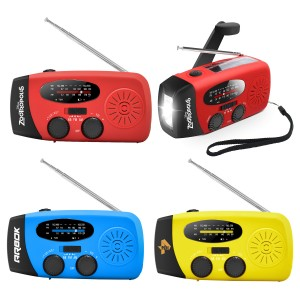 Emergency Tool AM/FM/NOAA Weather Radio with LED Flashlight, 1000mAh Power Bank, Solar and Hand Crank Power