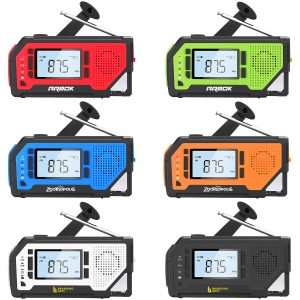 Emergency Weather Alert Radio-AM/FM/NOAA, 2000mAh Power Bank, Solar Panel, Hand Crank, Large LCD Display & Bottle Opener
