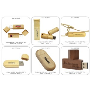 Eco friendly Bamboo or Wooden USB Drive in Various Shapes