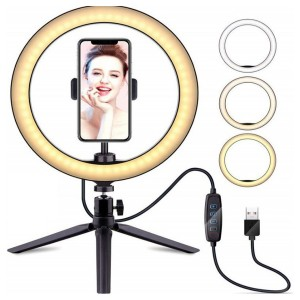"""10"""" Selfie Ring Light with Tripod Stand & Cell Phone Holder for Live Stream,  YouTube Video and Photography"""