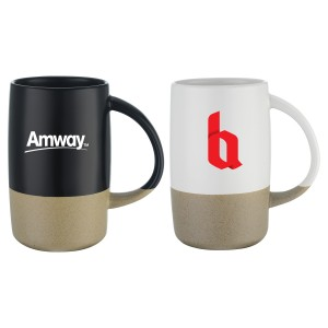 17OZ Two-Tone Ceramic Mug with Smooth finish on Top and Sandstone Material on the Bottom