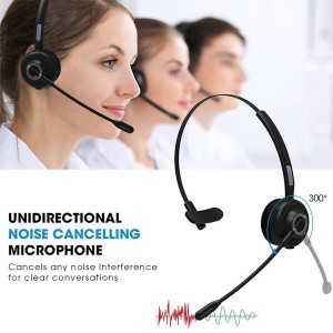 Noise Canceling Wireless Bluetooth Headset with Mic and Charging Base