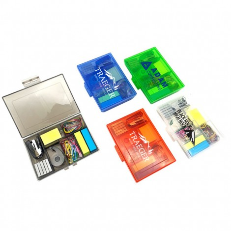 Mini Back to School /Office Kit with Stapler, Staples, Sticky Notes, Rubber Bands, Paper Clips, and Tape Measurer