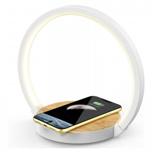 Desktop LED Lamp and Faux Wood Engrained Wireless Charger Combo with 3 Light Settings