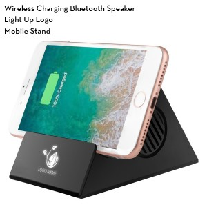 Wireless Charging Bluetooth Speaker with Light Up Logo and Phone Stand