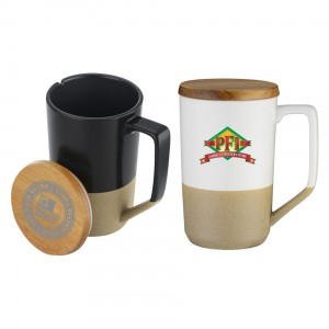 Modern Two-Tone 15oz Mug with Curved Handle and Wood Lid
