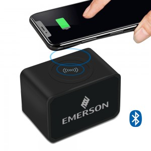 Bluetooth Speaker, 2000mAh Power Bank and Wireless Charger with Light Up Logo