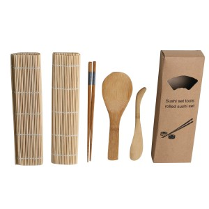 Bamboo Sushi Making Kit with Rolling Mat, Chopsticks and More
