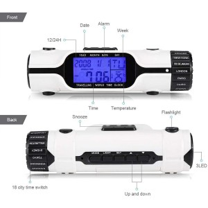 World Time Travel Clock with 18 Time Zone Display, Digital Thermometer, Alarm Clock and LED Flashlight