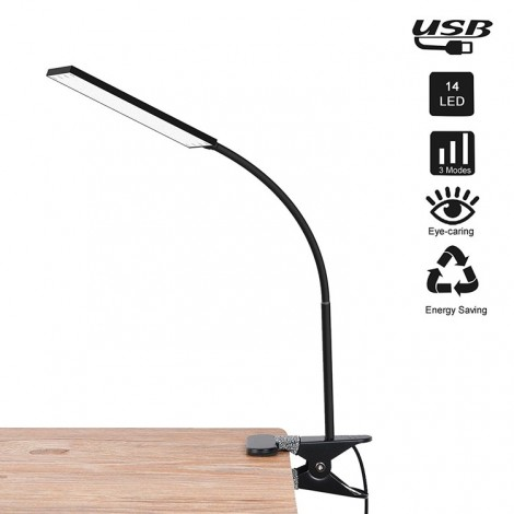 Clip LED Reading Lamp w/3 Color Temperatures and 14 Brightness Levels